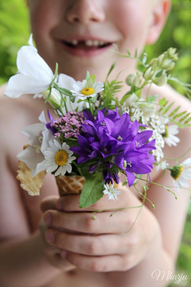 Luomutilan kukkakimppu